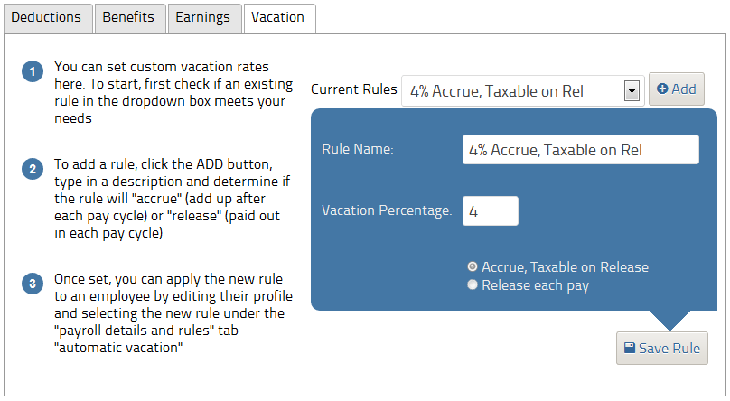 Custom pay rules